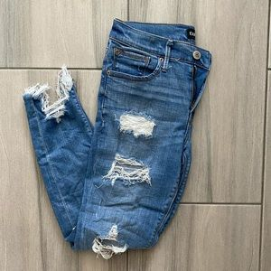 Express Distressed Ankle Legging Mid Rise